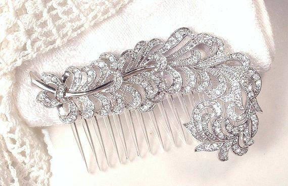 Art Deco KJL Feather Brooch/Hair Comb,Vintage Rhin
