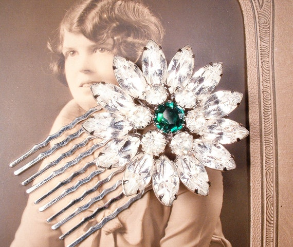 Bridal Accessories Vintage Wedding Brooch 1920s Jewelry Wedding Dress Brooch Huge Art Deco Brooch Silver Brooch Green Bridal Brooch