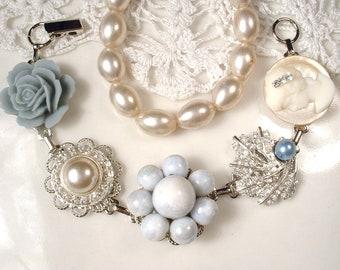 OOAK Dusty Powder Blue Bridal Bracelet, Ivory Pearl Light Blue Rhinestone Silver Vintage Earring Bridesmaid Gift Wedding Something Blue Old