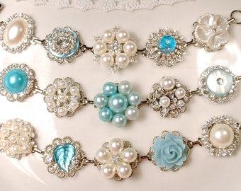 CHOICE OoaK Powder Blue & Ivory Bridal Bracelet 1/SET Pearl Rhinestone Vintage Earring Bracelet Silver Light Aqua Bridesmaid Gift, Wedding