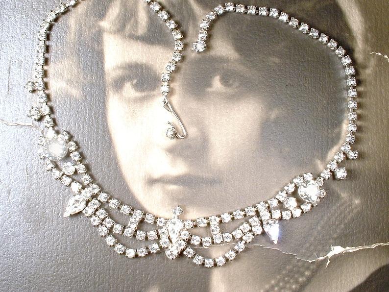 52205fc489aca9 Vintage Lacy Rhinestone Swag Bridal Necklace Silver Clear | Etsy