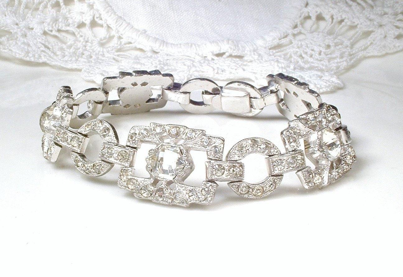 Art deco rhinestone bracelet vintage wedding antique etsy jpg 1295x891 Vintage  ledo rhinestone bracelet jewelry