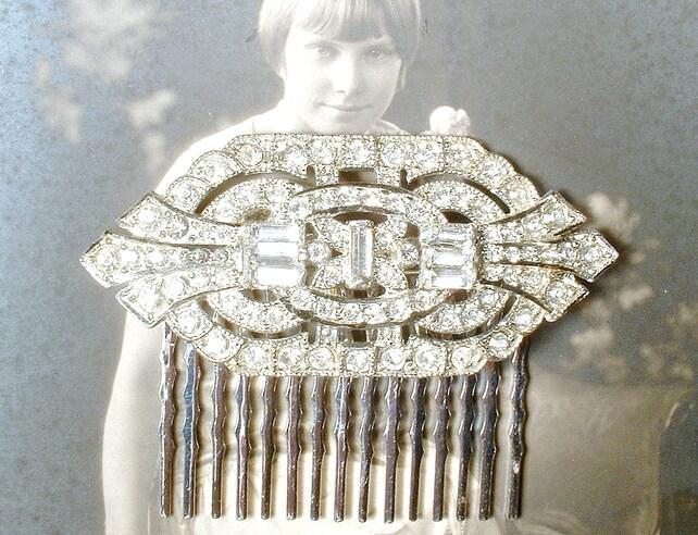Ooak Antique 1920s Hair Comb Or Bridal Sash Brooch Art Deco