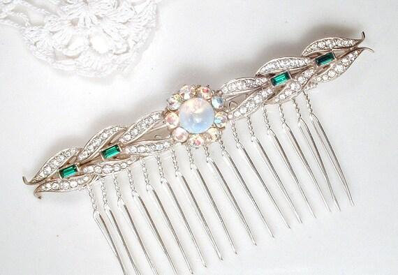 OOAK cheveux peigne ou ceinture broche originale des années 1940 émeraude, Antique Art déco vert clair pavé strass & opale Gatsby mariée robe ceinture/postiche