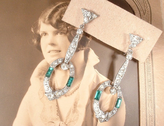 ANTIQUE Art Deco Emerald Earrings, Long Green Pave