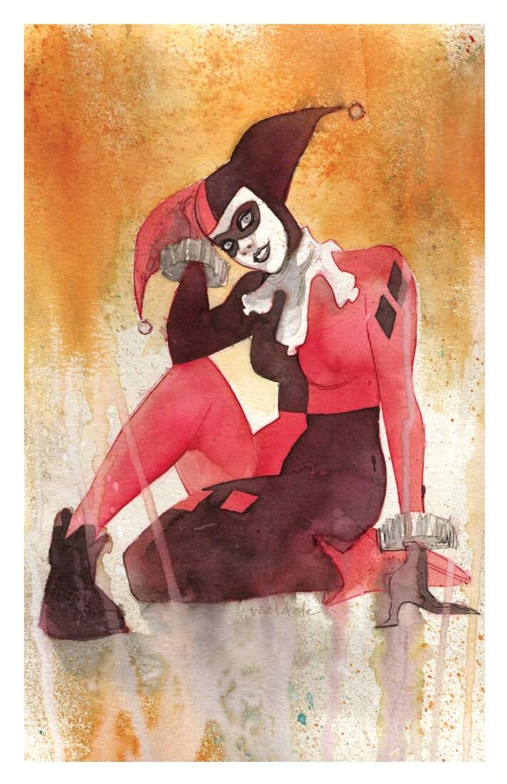 Harley Quinn Watercolor Art Print Comic Book Art Comic Art Print Fanart Pop Culture Painting Nerd Decor 11x17 Unframed