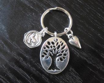 Tree of Life, Peace Dove, Love Heart, Key Ring