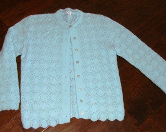US Size 3 to 6 Months Crochet Baby Blue Cardigan with White Ribbon Closure