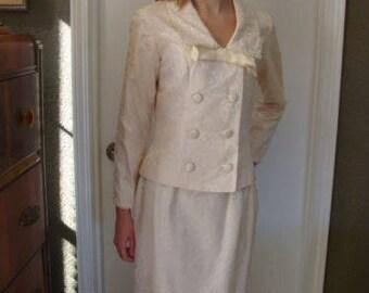 1965 authentique Vintage Viva Las Vegas, robe de mariée costume Jacquard crème S 2 PC Original propriétaire Mod Double poitrine veste jupe