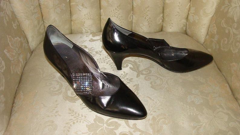 bb18189bb9eb9 1950-60's Bruno Magli Made in Italy Bologna Vero Cuoio Black Leather  Pointed 2