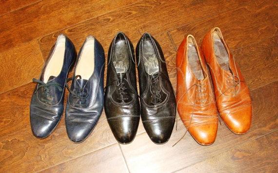Vintage Men s Dress Shoes Chestnut Brown 1950s Navy Blue  5ba936d3677f