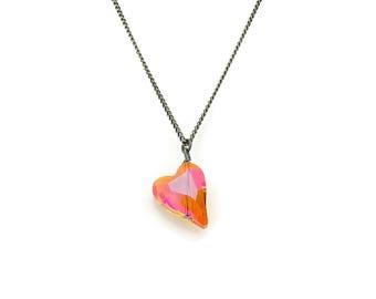 Astral Pink Swarovski Crystal Heart Pendant on a Titanium Necklace, Orange Pink Heart Nickel Free Necklace For Sensitive Skin