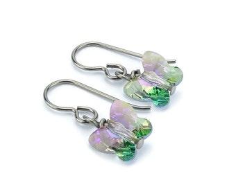 Titanium Earrings Paradise Shine Crystal Butterfly, Purple Green Violet Crystal Swarovski Butterfly Sensitive Ears Earrings for Girls