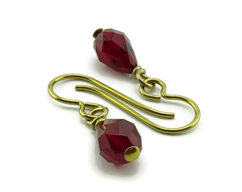 Garnet Teardrop Gold Niobium Earrings, Red Siam Swarovski Crystal Drops Earring, Nickel Free Hypoallergenic Earrings for Sensitive Ears