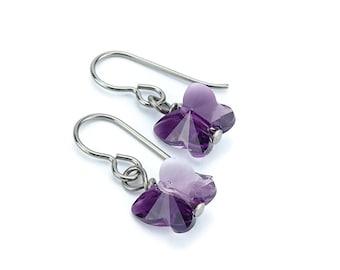 Titanium Earrings Amethyst Butterfly Crystal, Amethyst Blend Swarovski Crystal Butterfly Sensitive Ears Earrings for Girls, Niobium Earrings