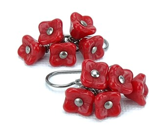 Titanium Earrings Red Flower Cluster Earings, Cascading Poppy Red Flower Niobium Earrings for Sensitive Ears, Hypoallergenic Niobium Jewelry