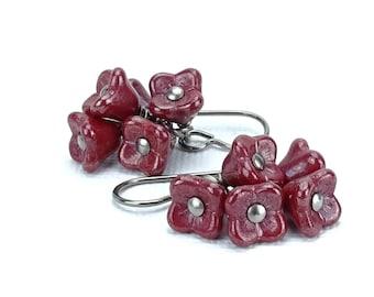 Titanium Earrings Cherry Red Flower Cluster Niobium Earrings, Cascading Warm Cherry Red Flower Earrings for Sensitive Ears, Niobium Jewelry