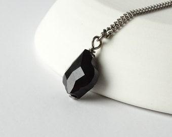Jet Black Baroque Titanium Necklace, Swarovski Crystal Pure Titanium Chain, Hypoallergenic Nickel Free Niobium Necklace for Sensitive Skin