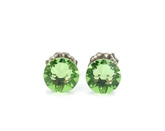 Titanium Stud Earrings Green Peridot Swarovski Crystal Studs, Titanium Posts for Sensitive Ears, No Nickel Hypoallergenic Jewellery