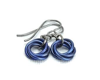 Niobium Earrings Purple Mobius No Nickel Titanium Earrings Royal Purple Blue Hypoallergenic Non Allergenic Earrings for Sensitive Ears