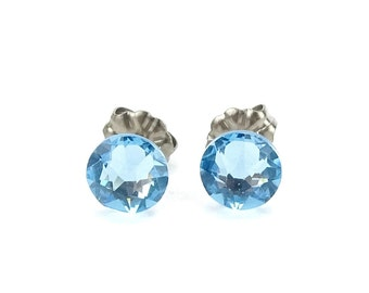 Titanium Stud Earrings Blue Aquamarine Swarovski Crystal Studs, Titanium Posts for Sensitive Ears, Titanium Earrings