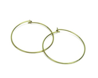 Niobium Hoop Earrings Gold Large, Yellow Gold Color Niobium Hoops for Sensitive Ears, Nickel Free Hypoallergenic Jewelry, Niobium Earrings