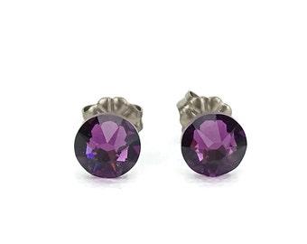 Titanium Stud Earrings Amethyst Purple Swarovski Crystal Studs on Titanium Posts for Sensitive Earlobes, Hypoallergenic Earings