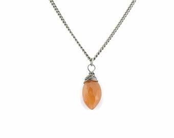 Peach Moonstone Titanium Necklace, Orange Pastel Gemstone Wire Wrapped on Niobium Hypoallergenic Necklace, Titanium Jewellery