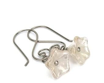 Niobium Earrings Champagne Flower Sensitive Ears Earrings, Shimmering Gold Flowers on Swirly Niobium Earwires, Hypoallergenic No Nickel