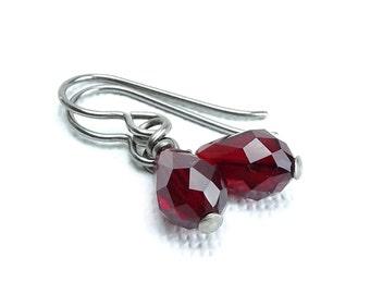 Garnet Teardrop Titanium Earrings, Swarovski Crystal Teardrop Hypoallergenic Niobium Earrings or Titanium Earrings for Sensitive Ears