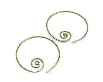 Niobium Hoops Spirals Gold Niobium Spiral Hoop Earrings, Hypoallergenic Hoops for Sensitive Ears, Niobium Hoops