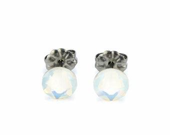 Titanium Stud Earrings Opal Swarovski Crystal Studs, White Opal No Nickel Studs for Sensitive Ears Hypoallergenic Titanium Jewelry
