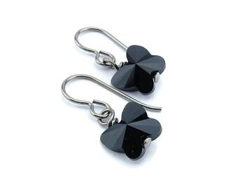 Titanium Earrings Black Butterfly Crystal, Jet Black Swarovski Crystal Butterfly Sensitive Ears Earrings for Girls, Niobium Earrings