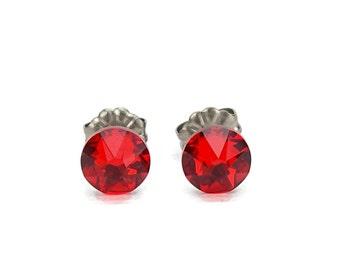 Titanium Stud Earrings Red, Light Siam Swarovski Crystal Studs, Titanium Post Earrings for Sensitive Ears, Hypoallergenic Titanium Jewelry