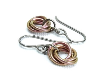 Niobium Earrings Salmon Mobius, Electric Salmon Pink Allergy Safe Hypoallergenic Earrings for Sensitive Ears, Eternity Titanium Earrings