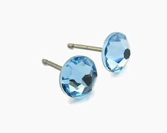 Blue Aquamarine Stud Titanium Earrings, Swarovski Crystal Aqua Blue Post Studs, Hypoallergenic Posts Nickel Free Earrings for Sensitive Ears