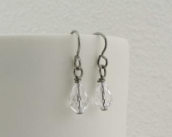 Clear Crystal Drop Titanium Earrings, Niobium Earrings for Sensitive Ears, Nickel Free Hypoallergenic Swarovski Crystal Teardrop Earrings