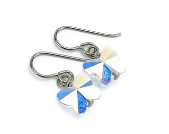 Titanium Earrings Aurora Borealis Crystal Butterfly, Clear Aurora Borealis Crystal Swarovski Butterfly Sensitive Ears Earrings for Girls