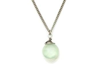 Green Chalcedony Titanium Hypoallergenic Necklace, Niobium Wire Wrapped Green Gemstone on Titanium Chain, No Nickel for Sensitive Skin