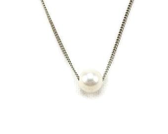 Floating Pearl Titanium Necklace, Hypoallergenic Necklace with Ivory Freshwater Pearl, Titanium Sensitive Skin Necklace, Titanium Jewelry