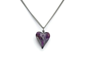 Titanium Necklace Crystal Lilac Shadow Heart Swarovski Pure Titanium Necklace For Sensitive Skin, Niobium Wire Wrapped Purple Heart Crystal