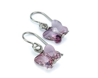 Titanium Earrings Pink Butterfly Crystal, Antique Pink Swarovski Crystal Butterfly Sensitive Ears Earrings for Girls, Dark English Pink