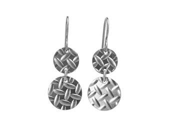 Nickel Free Double Disc Earrings, Armor Patterned Niobium Discs Titanium Earrings, Hypoallergenic Embossed Disk Earrings for Sensitive Ears