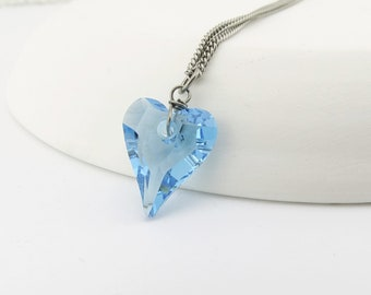 Aqua Blue Heart Titanium Necklace, Niobium Wire Wrapped Aquamarine Swarovski Crystal, Hypoallergenic Nickel Free Necklace For Sensitive Skin