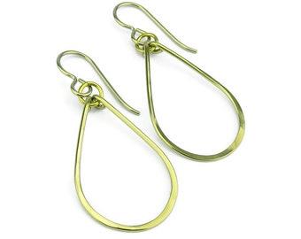 Niobium Earrings Gold Teardrop, Yellow Gold Colored Niobium Hoop Earrings, No Nickel Earrings, Hypoallergenic Niobium Jewellery
