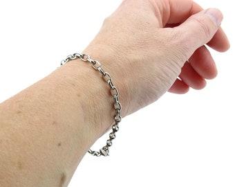 Half Round Oval Cable Link Titanium Bracelet, Pure Titanium 4 mm wide Chain Bracelet for Sensitive Skin, Bracelet for Him, Titanium Jewelry