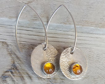 Textured Silver and Amber Ear Drops
