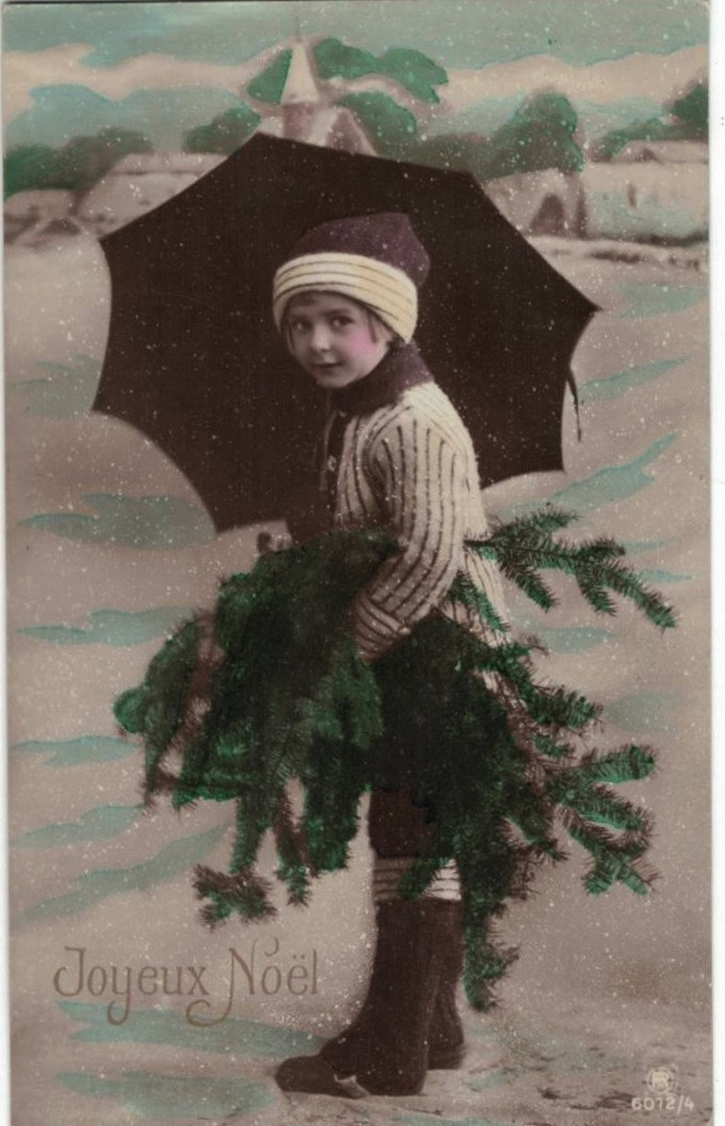 Mailed 1923 Sweet Edwardian Child with Evergreens and Snowflakes Antique French Postcard
