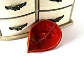 ceramic leaf dish ring holder candle holder spoon rest tea bag holder gift home decor handmade pottery burnt orange rust one autumn leaf