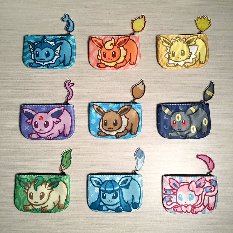 Pokemon Eeveelution Coin Purses with Tails  Eevee Vaporeon image 0